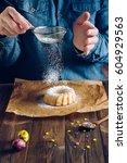 man's hands sprinkling with... | Shutterstock . vector #604929563