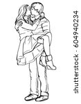 young couple in love.sensual... | Shutterstock .eps vector #604940234