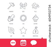 money bag  star and bow icons.... | Shutterstock .eps vector #604953734