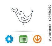 bird with speech bubble icon.... | Shutterstock .eps vector #604956080
