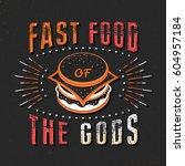set of vintage food typographic ... | Shutterstock .eps vector #604957184