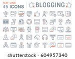set vector simple line icons ... | Shutterstock .eps vector #604957340