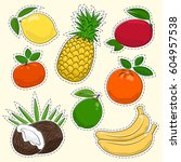 set of tropical and citrus... | Shutterstock .eps vector #604957538