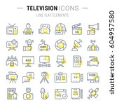 set vector line icons  sign and ... | Shutterstock .eps vector #604957580