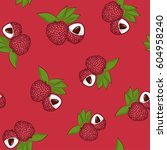 seamless pattern of lichee ... | Shutterstock .eps vector #604958240
