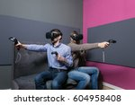 two young man playing video...   Shutterstock . vector #604958408