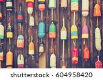 cape cod lobster buoys | Shutterstock . vector #604958420