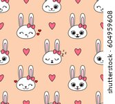 cute vector seamless pattern... | Shutterstock .eps vector #604959608
