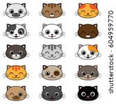 set of different cartoon cats... | Shutterstock .eps vector #604959770
