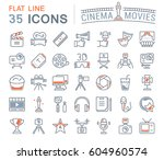 set vector line icons  sign and ... | Shutterstock .eps vector #604960574