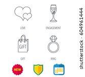 love heart  gift bag and... | Shutterstock .eps vector #604961444