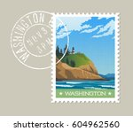 washington state postage stamp... | Shutterstock .eps vector #604962560