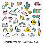 set of fashion patch badges | Shutterstock .eps vector #604962566
