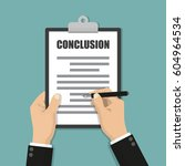 businessman writes conclusion ... | Shutterstock .eps vector #604964534