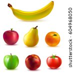colorful fruits collection | Shutterstock .eps vector #604968050
