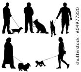 set ilhouette of people and dog.... | Shutterstock . vector #604977320