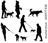 set ilhouette of people and dog.... | Shutterstock . vector #604977338