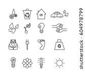 simple set of eco related... | Shutterstock .eps vector #604978799