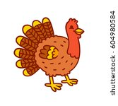 cute cartoon turkey drawing.... | Shutterstock .eps vector #604980584