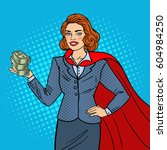 pop art super businesswoman in... | Shutterstock .eps vector #604984250