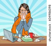 pop art business woman sneezing ... | Shutterstock .eps vector #604986098