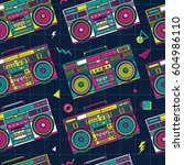 retro pop eighties boombox... | Shutterstock .eps vector #604986110