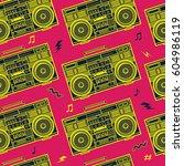 retro pop eighties boombox...   Shutterstock .eps vector #604986119