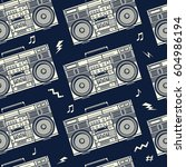 retro pop eighties boombox... | Shutterstock .eps vector #604986194