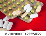 pills  tablets and stethoscope... | Shutterstock . vector #604992800