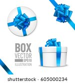 white round gift box with shiny ... | Shutterstock .eps vector #605000234