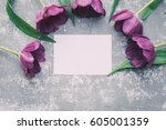 tulips and blank message | Shutterstock . vector #605001359