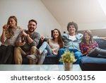 group of friends having a... | Shutterstock . vector #605003156