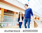 father and daughter walking... | Shutterstock . vector #605003300