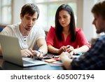 group of students preparing... | Shutterstock . vector #605007194