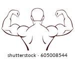 silhouette of a muscular man ...   Shutterstock .eps vector #605008544