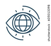 globe inside eye vector icon in ... | Shutterstock .eps vector #605013398