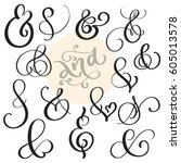 vector set vintage sign and... | Shutterstock .eps vector #605013578