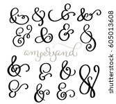 vector set vintage sign and... | Shutterstock .eps vector #605013608