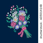 vector embroidery imitation of... | Shutterstock .eps vector #605014148