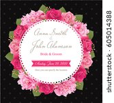 wedding invitation card  save... | Shutterstock .eps vector #605014388