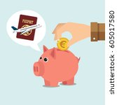 piggy bank thinking of holidays ... | Shutterstock .eps vector #605017580