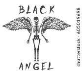 black angel like a skeleton... | Shutterstock .eps vector #605019698