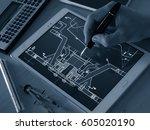engineer designer working on... | Shutterstock . vector #605020190