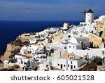 oia in santorini island  greece   Shutterstock . vector #605021528