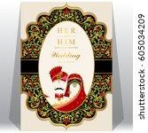 indian wedding invitation card...   Shutterstock .eps vector #605034209