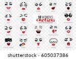 woman's vector emoticons  emoji ... | Shutterstock .eps vector #605037386