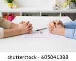couple going through divorce... | Shutterstock . vector #605041388