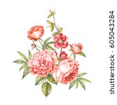 vintage garland of blooming... | Shutterstock . vector #605043284