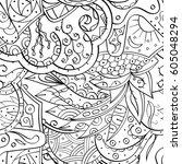 tracery seamless calming... | Shutterstock .eps vector #605048294