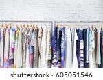 Stock photo fashion colorful clothing hanging a on display 605051546